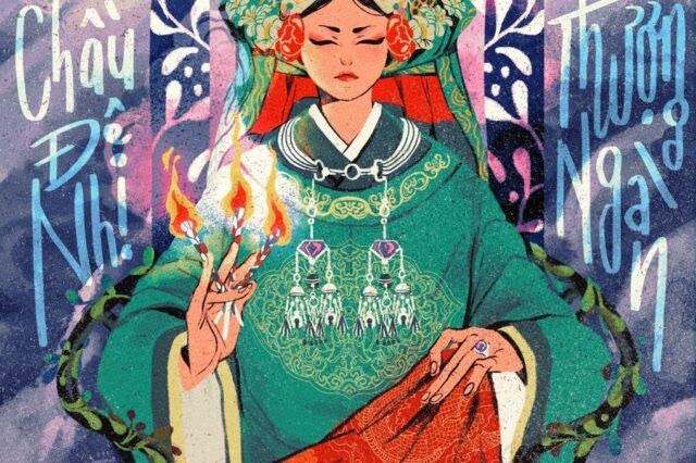 Tranh vẽ Chầu Đệ Nhị Thượng Ngàn, thuộc dự án Divine Portraits - Thánh Nhan. Hoạ sĩ Camelia Pham.